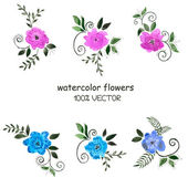 Background of watercolor flowers on a white background — Stock Vector