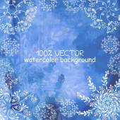 Beautiful blue watercolor background with white pattern — Stock Vector