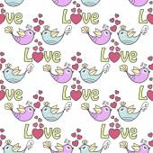 Beautiful seamless pattern with birds and hearts on a white background — Stock Vector
