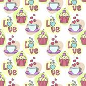 Seamless background with cake and tea — Stock Vector