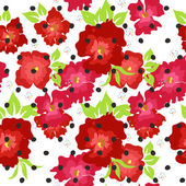 Seamless pattern with red poppies on a white background — Stock Vector