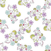 Beautiful seamless pattern with flowers on a white background — Stock Vector
