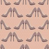 Seamless background with shoes on a pink background with polka dots — Stock Vector
