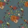 Beautiful seamless pattern with flowers and birds on blue background with dots — Stok Vektör #81050154