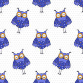 Seamless texture with blue owls on a white background — Stock Vector