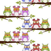 Seamless pattern with owls in the trees on a white background — Stock Vector