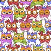 Seamless pattern of colorful owls — Stock Vector