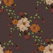 Beautiful seamless pattern with flowers on brown background with dots — Stock Vector