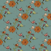 Beautiful seamless pattern with flowers and birds on blue background — Stock Vector