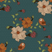 Beautiful seamless pattern with flowers and birds on blue background with dots — Stock Vector