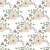 Seamless background with flowers on a white backgroun — Stock Vector