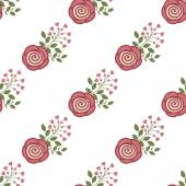 Seamless background with red roses on a white background — Stock Vector