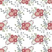 Seamless background with red flowers on a white backgroun — Stock Vector