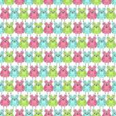 Seamless pattern of colorful owls on a white background — Stock Vector