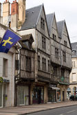 Three ancient half-timbered houses in Dijon — Stock Photo