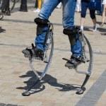 Men legs for jumping stilts — Stock Photo #78776446