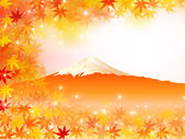 Maple foliage Mount Fuji — Stock Vector