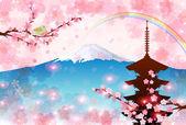 Fuji plum greeting cards — Stock Vector