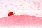 Fuji cherry tree greeting cards — Stock Vector