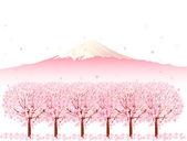 Fuji cherry background — Stock Vector