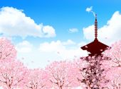 Cherry Kyoto background — Stock Vector