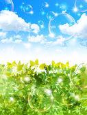 Leaf fresh green background — Stock Vector