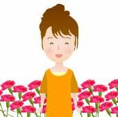 Carnation background Mother's Day — Cтоковый вектор