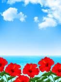 Hibiscus sea background — Vecteur