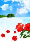 Sea hibiscus background — Stock Vector