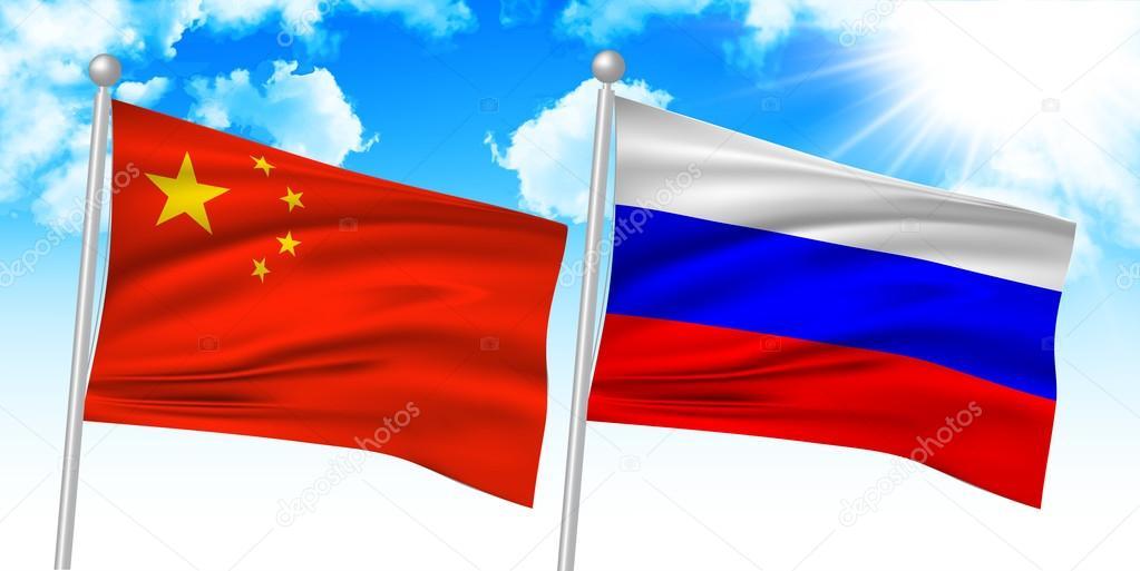 俄罗斯中国国旗— vector