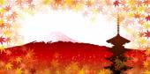 Fuji maple five-story pagoda — Stock Vector