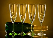 Champagne and bottles — Stock Photo