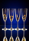 Glass goblets for champagne — Stock Photo