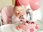 Baby having birthday — Stock Photo