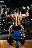 Bodybuilder with dumbbells — Stock Photo