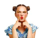 Beautiful Joyful teen girl with freckles — Stock Photo