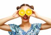 Beauty Model Girl with Juicy Oranges. — Stock Photo