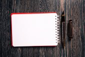 Blank notebook with pen — Stock Photo