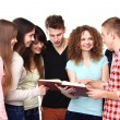 Group of students talking and holding notebooks — Stock Photo #62779635