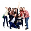 Casual group of excited friends — Stock Photo #62779641