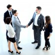 Top view of  business people shaking hands — Stock Photo #62779853
