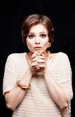 Beauty Young Woman Portrait Closeup — Stock Photo