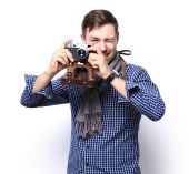 Portrait of happy  photographer man — Stock Photo