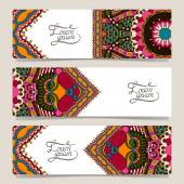 Set of three horizontal banners with decorative ornamental flowers — Stock Vector