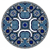 Decorative design of circle dish template, round geometric patte — Stockvektor