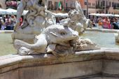 Rome, Italy, sculptural detail of the Fountain of Neptune — Stockfoto