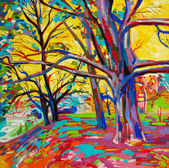 Original oil painting, forest in spring. — Stock Photo