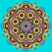 Circle lace ornament, round ornamental geometric doily pattern — ストックベクタ