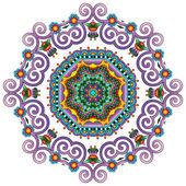 Ornamento de laço de círculo, redondo ornamental geométrica doily padrão — Vetor de Stock
