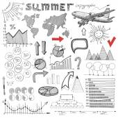 Summer infographic, big set of sketch drawing info elements — Vettoriale Stock